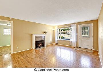casa, vuoto, caminetto, interno, confortevole