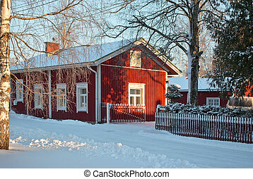casa, walls., rojo