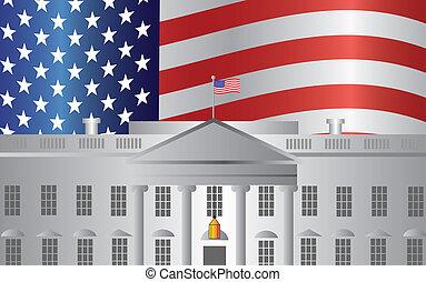 casa, washington dc, bandera de los e.e.u.u, plano de fondo, blanco