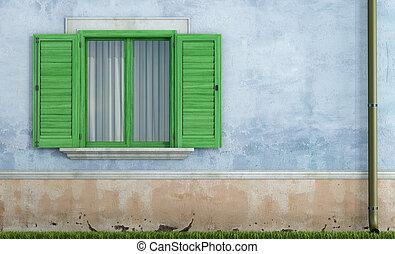 casa, windows, de madera, viejo, verde