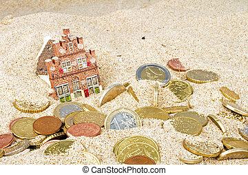 casa, y, euro, coins, desaparecer, en la arena