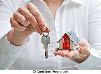 casa, y, llaves