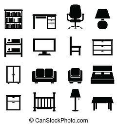 casa, y, muebles de oficinas