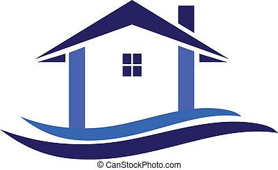 casa, y, ondas, logotipo, vector
