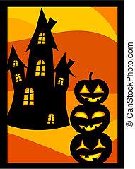 casa, zucche, halloween