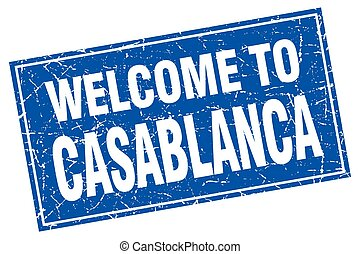 Casablanca blue square grunge welcome to stamp