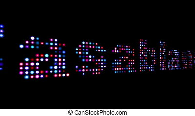 Casablanca colorful led text isolated on black