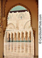 casablanca, mesquita, detalhe, ii, marrocos, hassan