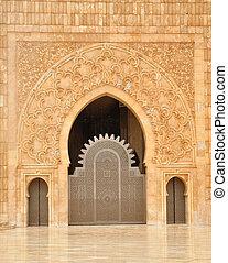 casablanca, moschea, dettaglio, ii, marocco, hassan