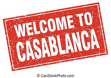 Casablanca red square grunge welcome to stamp