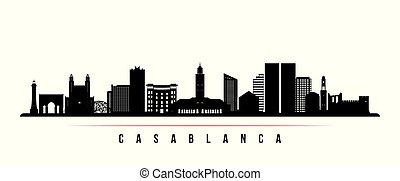 Casablanca skyline horizontal banner. Black and white silhouette of Casablanca, Morocco. Vector template for your design.