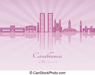 Casablanca skyline in purple radiant orchid