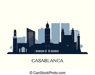 Casablanca skyline, monochrome silhouette.