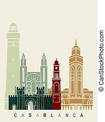 Casablanca skyline poster in editable vector file
