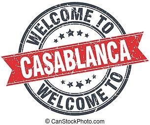 casablanca, stämpel, årgång, välkommen, runda, röd