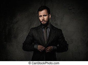 casaco, bonito, bem-vestido, homem
