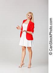 casaco, branca, mulher, vestido, vermelho