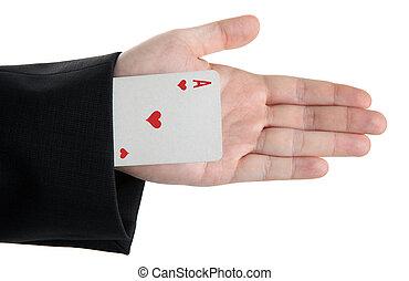 casaco, corações, cartão, ás, manga