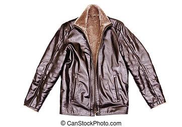 casaco, couro