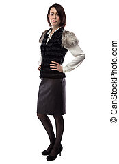 casaco, foto, mulher, pele