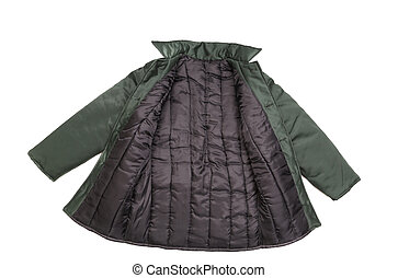 casaco, frente, vista., verde
