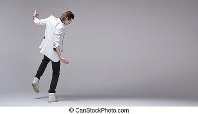 casaco, menino, bonito, sozinha, dançar