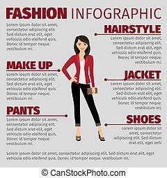 casaco, moda, senhora, vermelho, infographic