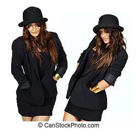 casaco, modelo, chapéu