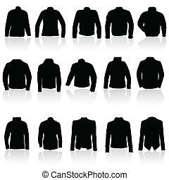 casaco, para, homem, e, mulheres, em, pretas, silueta