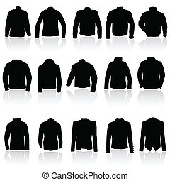 casaco, pretas, mulheres, silueta, homem