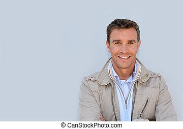casaco, retrato, bonito, homem