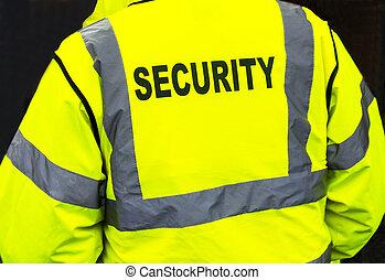 casaco, segurança, closeup