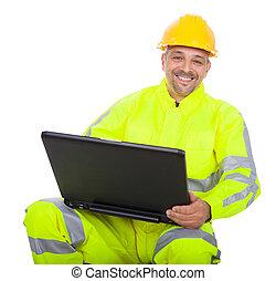 casaco, segurança, trabalhador, retrato
