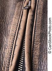 casaco, zipper;, couro