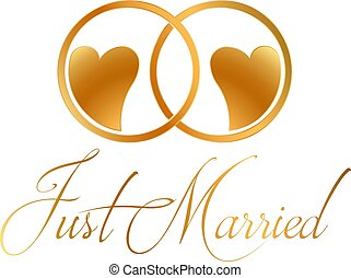 casado apenas, anéis, vetorial, desenho