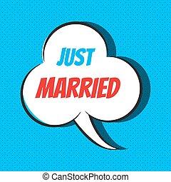 casado apenas, fala, frase, cômico, bolha