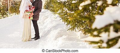 casado apenas, muçulmano, par, em, natureza inverno