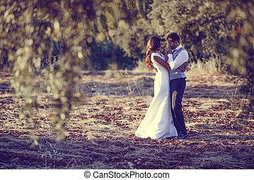 casado apenas, par, em, natureza, fundo