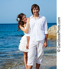 casado apenas, par, perto, a, mar
