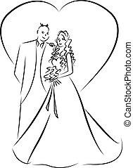 casado, apenas, par, vetorial, caricatura