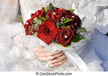 casado, buquet, mão mulher, rosas, vermelho