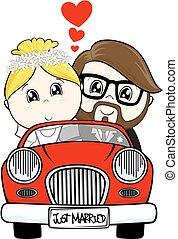 casado, caricatura, apenas