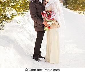 casado, inverno, apenas, natureza, par, muçulmano