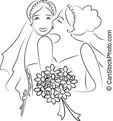 casado, lesbiana, sólo, pareja