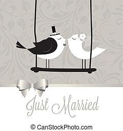 casado, pássaros, apenas