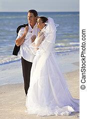 casado, &, par, noivo, noiva, casório, praia