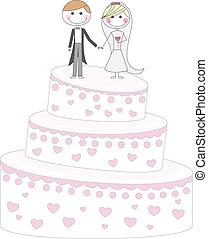casado, sólo, pastel
