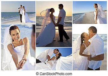 casado, y, pareja, novio, novia, ocaso, boda, playa