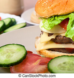 casalingo, hamburger, dettaglio