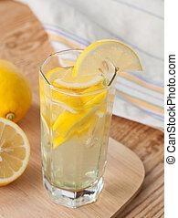 casalingo, limonata, in, uno, vetro